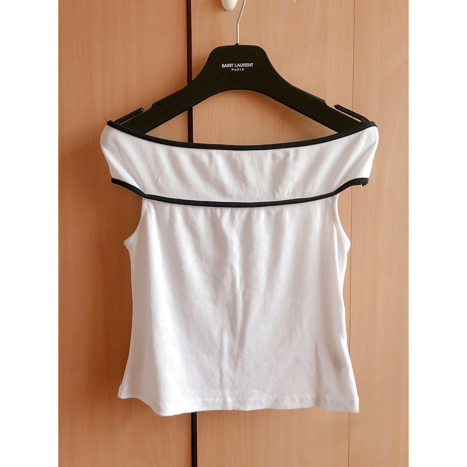 61ff3776bf7e5 Zara white off shoulder top blouse t shirt 白色線條露肩一字領襯衫 ...