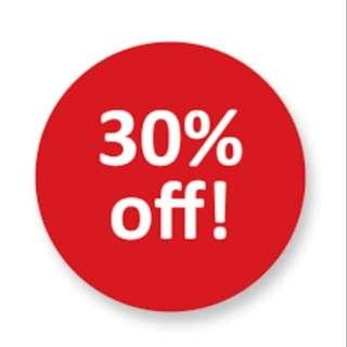 30% OFF on all items for limited time