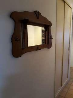 Antique Teak Wall mirror with hooks