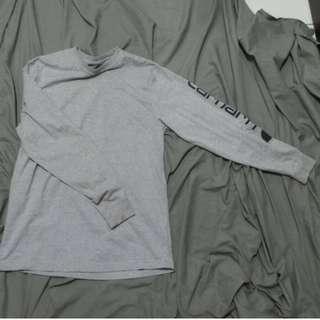 CARHARTT 灰色薄長T  手臂LOGO