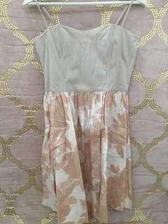 H&M Floral Bustier Dress in Nudes Pink