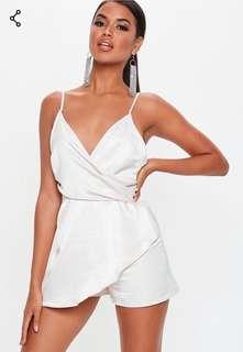 Missguided Cream Strappy Wrap Over Romper Dress