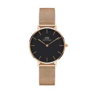 dw classic melrose black 28MM 玫瑰金 黑錶面 金屬錶帶