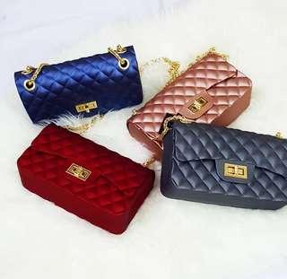 NAVY BLUE Jelly Bag with gold chain