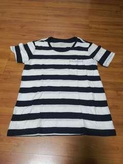 [Preloved] Muji Navy Stripe Cotton Tshirt
