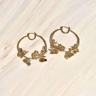 Golden Hoop butterfly earrings 金色 日韓 蝴蝶 耳環