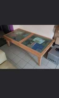 Console table with sliding glass compartment