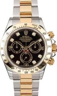 🚚 Preloved Rolex daytona half gold black diamond dial 116523