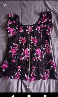 Medium Black Print, Lacy, Short Sleeve, Zip Down Top