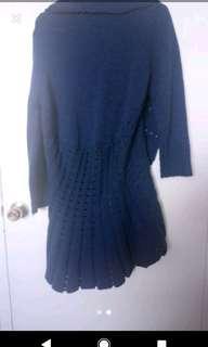 Large Blue Long Sleeve Long Cardigan