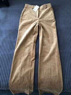 H&M Tan Flare velvet trousers