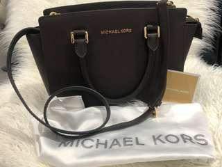 Michael Kors Selema Medium Saffiano Leather Satchel - Coffee