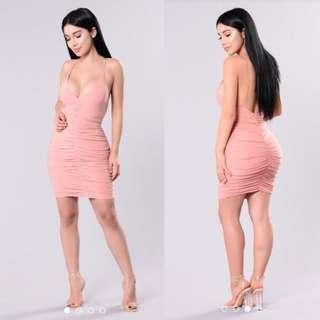 FASHION NOVA pink ruched dress