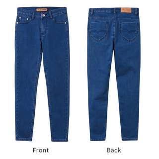 🚚 芭蕾舞褲-內搖粒絨顯瘦牛仔窄管褲-中藍(L)