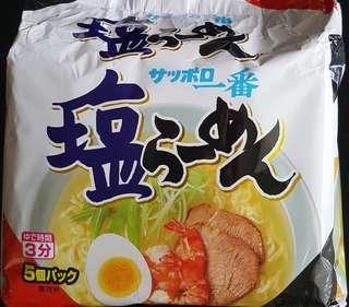 🚚 預購現貨 日本札幌一番拉麵5袋入 一番鹽味拉麵 日本一番泡麵 鹽味泡麵 日本即食麵 鹽味即食麵