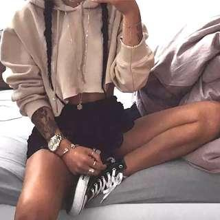 ❗️ khaki cropped hoodie pullover