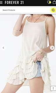 Bn Forever 21 Ivory Oatmeal Ruffles Tiered Cami Beach Tunic Top Dress