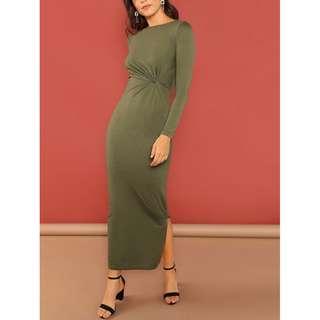 Twist Side Maxi Dress With Slit