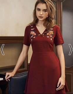 TCL Evalia Embroidery Dress in Wine