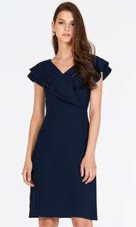 SALE TheClosetLover Navy Blue Fren Ruffle Dress