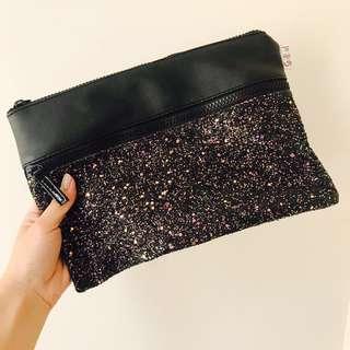 Sportsgirl black glitter pouch