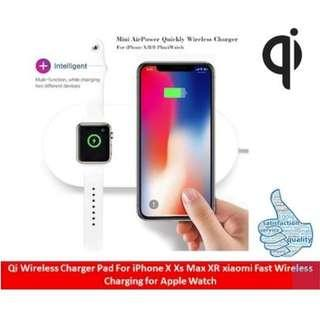Qi Wireless Ultra-slim Fast Dual Charger for iOS or Android phone and iWatch