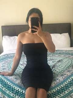 Black midi strapless dress
