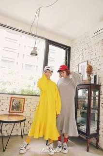 🚚 La Mocha~抓褶蓬袖魚尾洋裝(黃色)