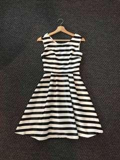 SALE Black and White Striped dress
