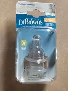 全新Dr Browns 奶咀 2個 (6m+)