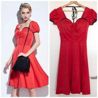 Brand new red sweetheart dress with ribbon flare retro