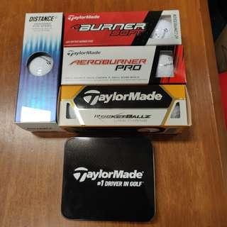 GOLF: TAYLORMADE GOLF BALLS + METAL BOX OF WOODEN TEES (BRAND NEW)