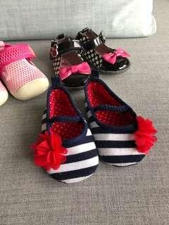 BB 嬰兒 B女鞋 黑白 間條 布鞋仔 學步鞋 Baby girl shoes 新舊如圖 As shown condition