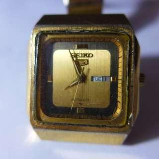Seiko 5 Automatic Square Gold Plated Dial Watch