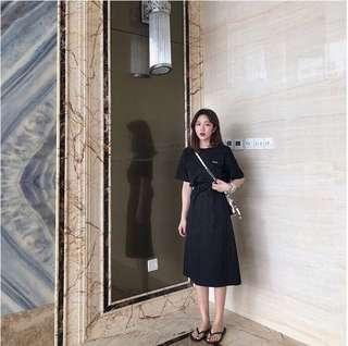 🚚 韓風綁帶修身短袖休閒連身裙