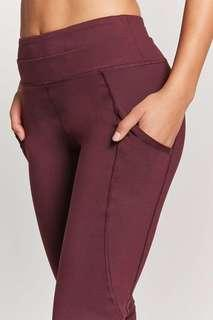 F21 Maroon Active Mesh Leggings