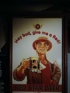 家中懷舊物品越南啤Red Star Beer木制廣告牌