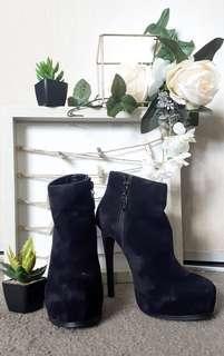 Pulp - Black Suede ankle stiletto boots
