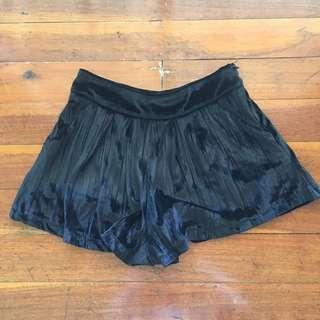 Black Velvet High Waist Shorts