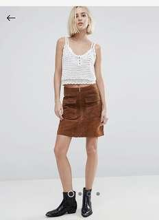 Pepe Jeans suede leather skirt