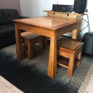 Wood table with two chairs