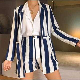 Suit and shorts stripes