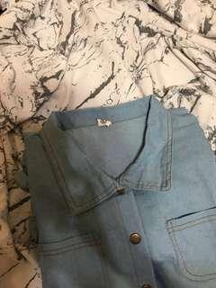 🚚 (含運)淺藍牛仔連身短褲