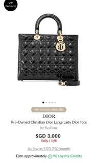 Christian Dior Large Lady Dior Tote
