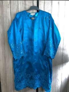 💕Preloved: Bimla Blue Baju Kurung Size M