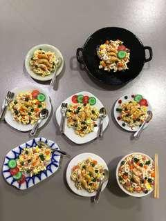 Handmade Miniature Fried rice (clay)