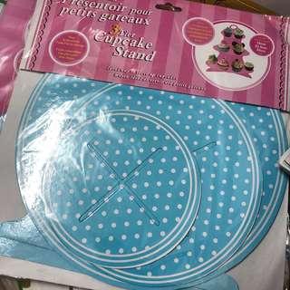 cupcake stand 三層紙座 架 藍色 波點