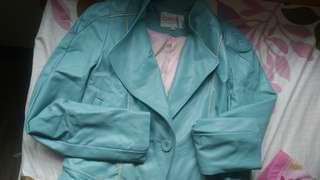 Teal Faux Leather Blazer