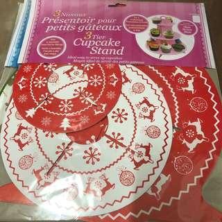 cupcake stand 三層紙座 架 聖誕 紅色