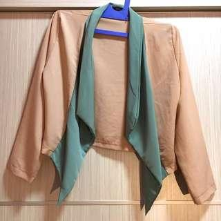 Kardigan Kimono Cream-Hijau All Size Preloved